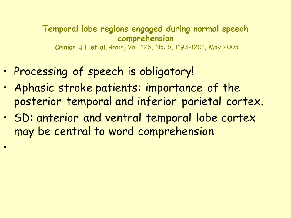 Temporal lobe regions engaged during normal speech comprehension Crinion JT et al.Brain, Vol. 126, No. 5, 1193-1201, May 2003 Processing of speech is