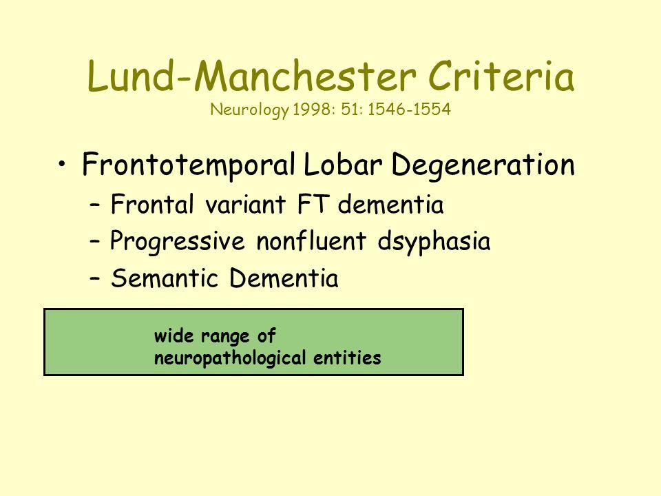 Lund-Manchester Criteria Neurology 1998: 51: 1546-1554 Frontotemporal Lobar Degeneration –Frontal variant FT dementia –Progressive nonfluent dsyphasia