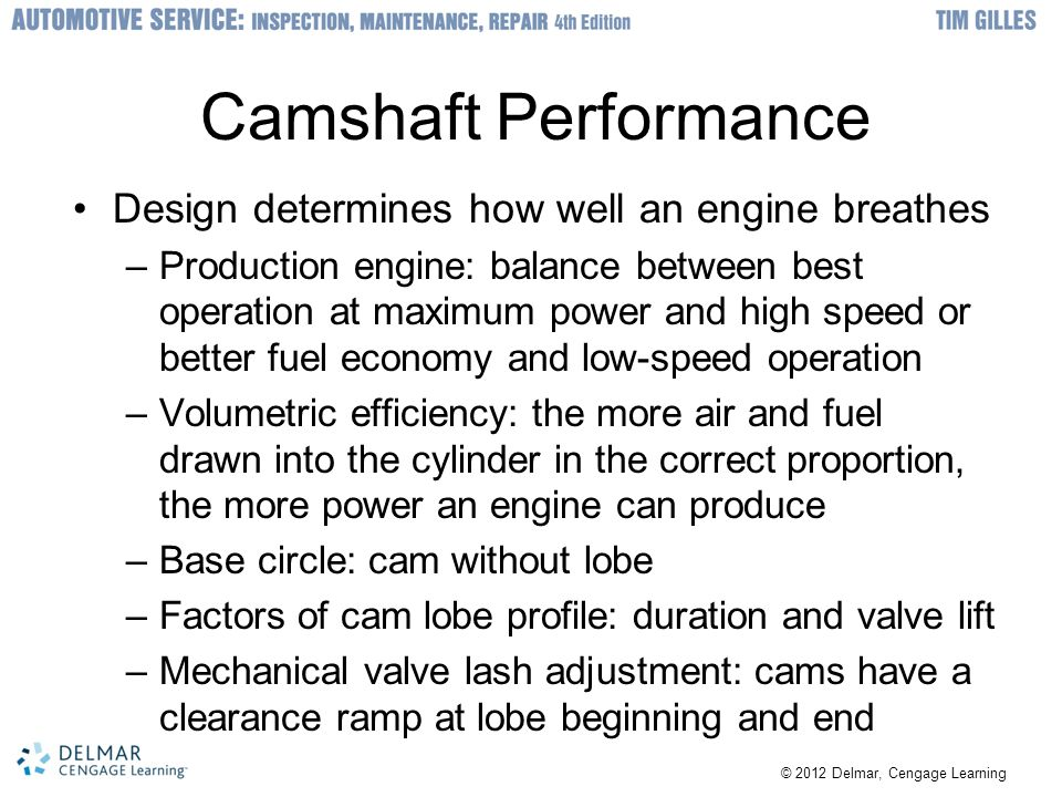 Camshaft Performance Design determines how well an engine breathes –Production engine: balance between best operation at maximum power and high speed