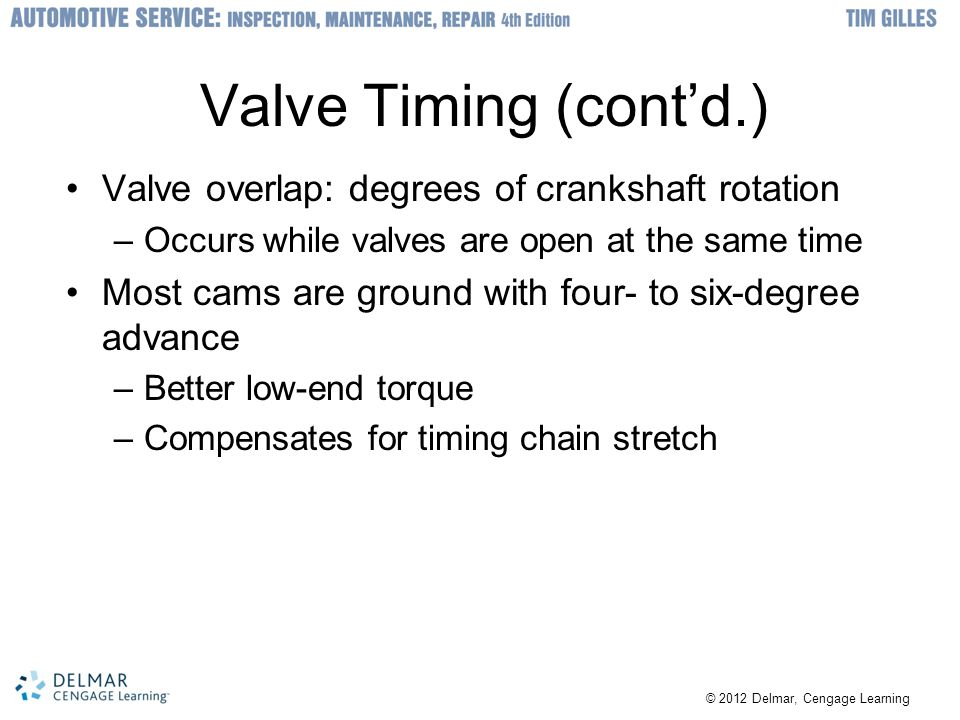 © 2012 Delmar, Cengage Learning Valve Timing (cont'd.) Valve overlap: degrees of crankshaft rotation –Occurs while valves are open at the same time Mo