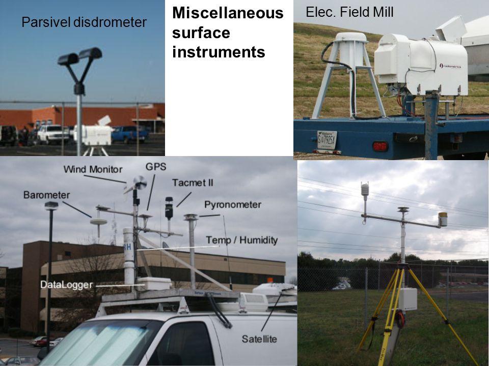 Miscellaneous surface instruments Parsivel disdrometer Elec. Field Mill