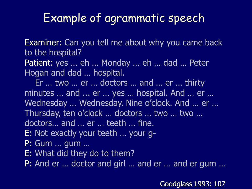 Example of agrammatic speech Examiner: Can you tell me about why you came back to the hospital? Patient: yes … eh … Monday … eh … dad … Peter Hogan an