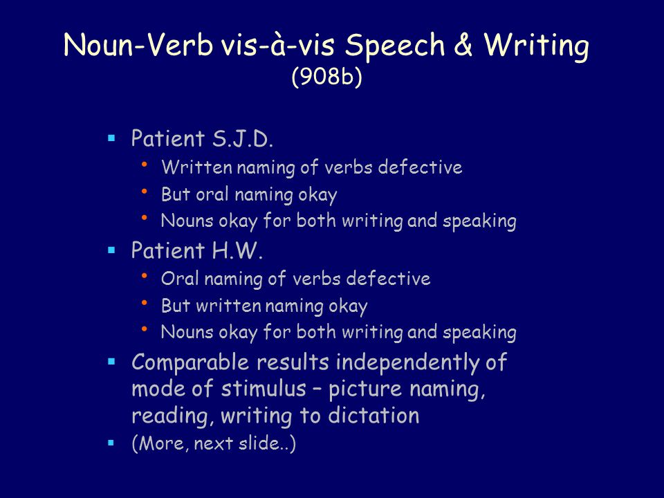 Noun-Verb vis-à-vis Speech & Writing (908b)  Patient S.J.D. Written naming of verbs defective But oral naming okay Nouns okay for both writing and sp