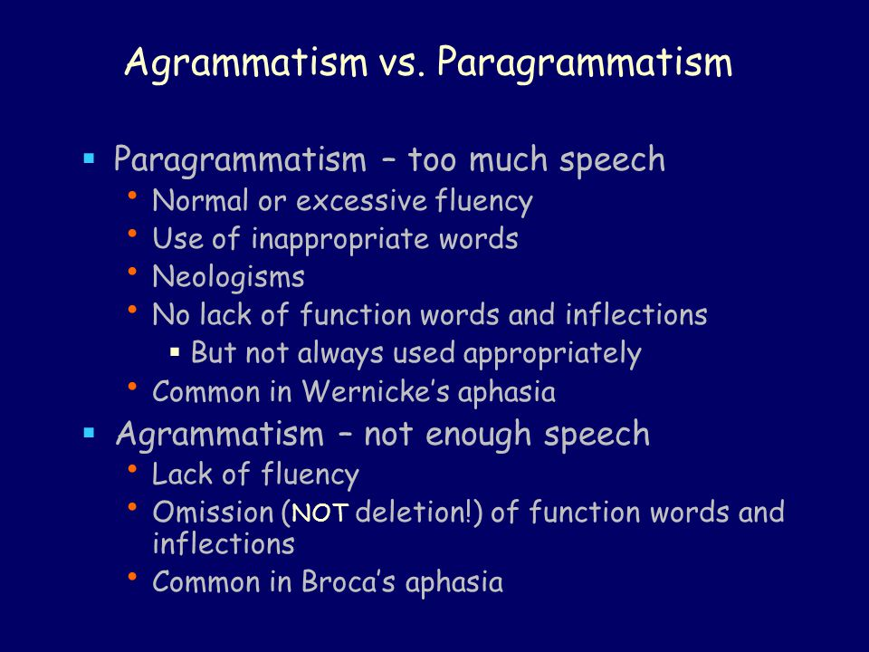 Reading and writing in agrammatism  Agrammatic difficulties are also seen in Oral reading Writing to dictation Repetition  But: Some patients are agrammatic in speech but not in writing (Goodglass 1993: 110) Some can repeat correctly How to explain.