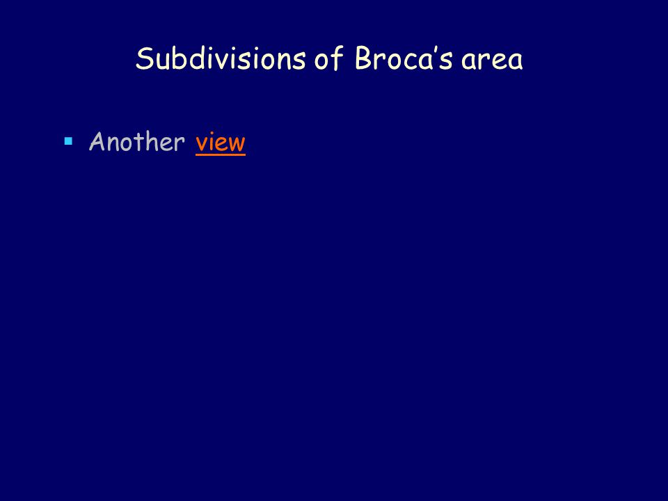 Subdivisions of Broca's area  Another viewview