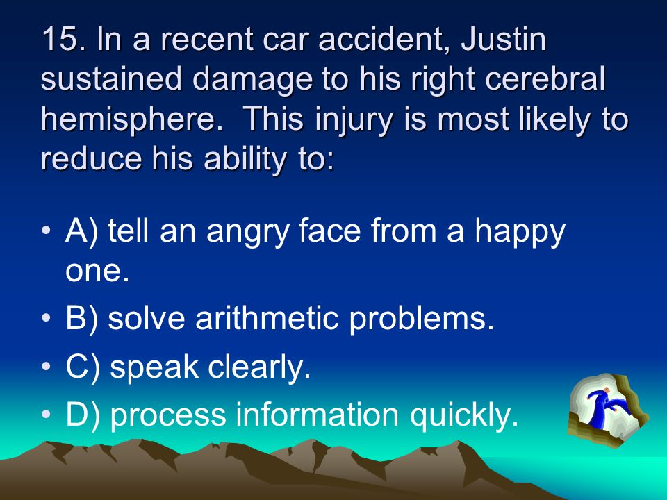 14. After a sky-diving accident, Laurie was unable to make sense of other people's speech.