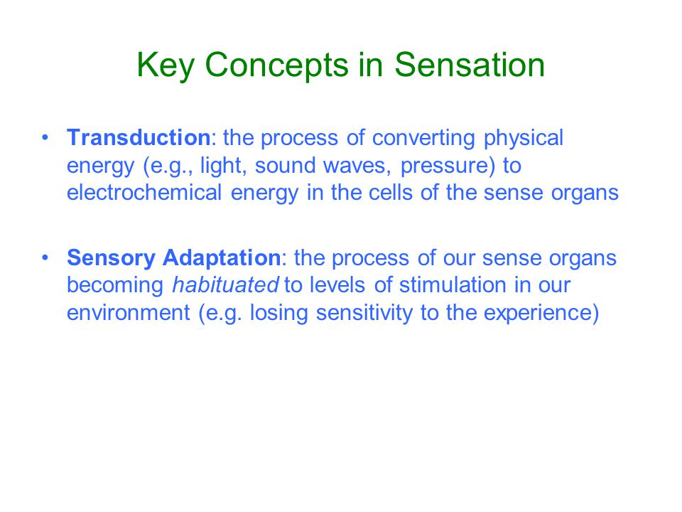 Key Concepts in Sensation Thresholds: Sensitivity of the sense organ –Absolute threshold: lowest level of physical energy a sense organ can detect –Difference threshold: the minimal difference between two levels of a given stimulus for which a difference can be detected.