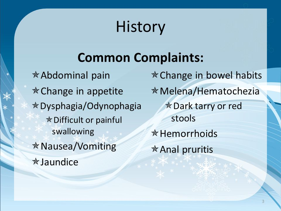 History Common Complaints:  Abdominal pain  Change in appetite  Dysphagia/Odynophagia  Difficult or painful swallowing  Nausea/Vomiting  Jaundic