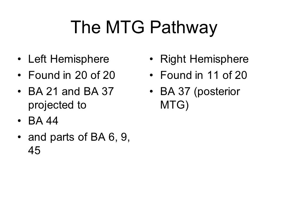 The MTG Pathway Left Hemisphere Found in 20 of 20 BA 21 and BA 37 projected to BA 44 and parts of BA 6, 9, 45 Right Hemisphere Found in 11 of 20 BA 37 (posterior MTG)