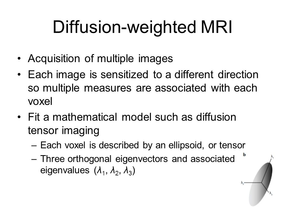 Diffusion-weighted MRI Acquisition of multiple images Each image is sensitized to a different direction so multiple measures are associated with each voxel Fit a mathematical model such as diffusion tensor imaging –Each voxel is described by an ellipsoid, or tensor –Three orthogonal eigenvectors and associated eigenvalues (λ 1, λ 2, λ 3 )