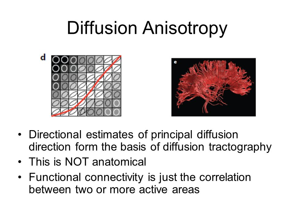 Diffusion Anisotropy Directional estimates of principal diffusion direction form the basis of diffusion tractography This is NOT anatomical Functional connectivity is just the correlation between two or more active areas
