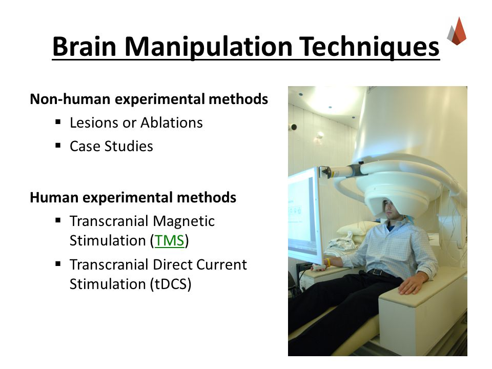 Brain Manipulation Techniques Non-human experimental methods  Lesions or Ablations  Case Studies Human experimental methods  Transcranial Magnetic Stimulation (TMS)TMS  Transcranial Direct Current Stimulation (tDCS)