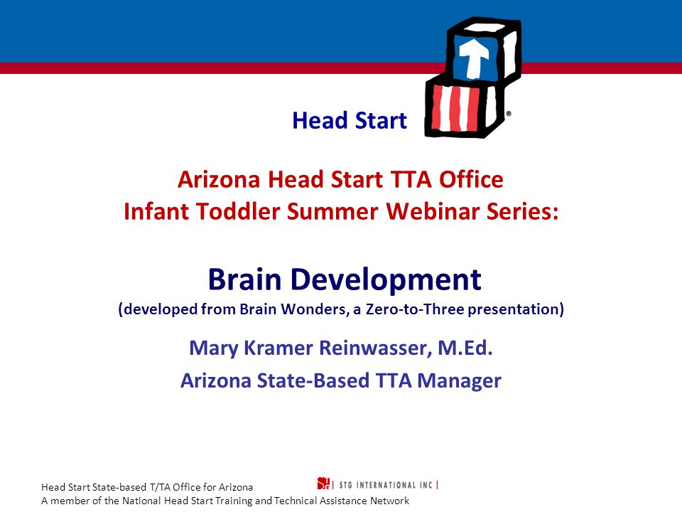 Head Start State-based T/TA Office for Arizona A member of the National Head Start Training and Technical Assistance Network Agenda Early brain development Typical patterns of development during the prenatal and neonatal periods Prenatal and neonatal risk and protective factors Prematurity and complications of prematurity 2