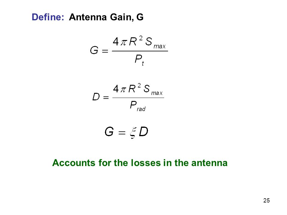 25 Define: Antenna Gain, G Accounts for the losses in the antenna