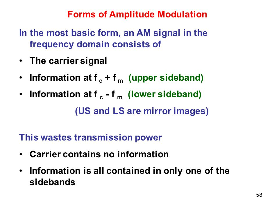 58 Forms of Amplitude Modulation In the most basic form, an AM signal in the frequency domain consists of The carrier signal Information at f c + f m