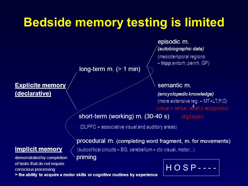 Bedside memory testing is limited episodic m. (autobiographic data) long-term m.
