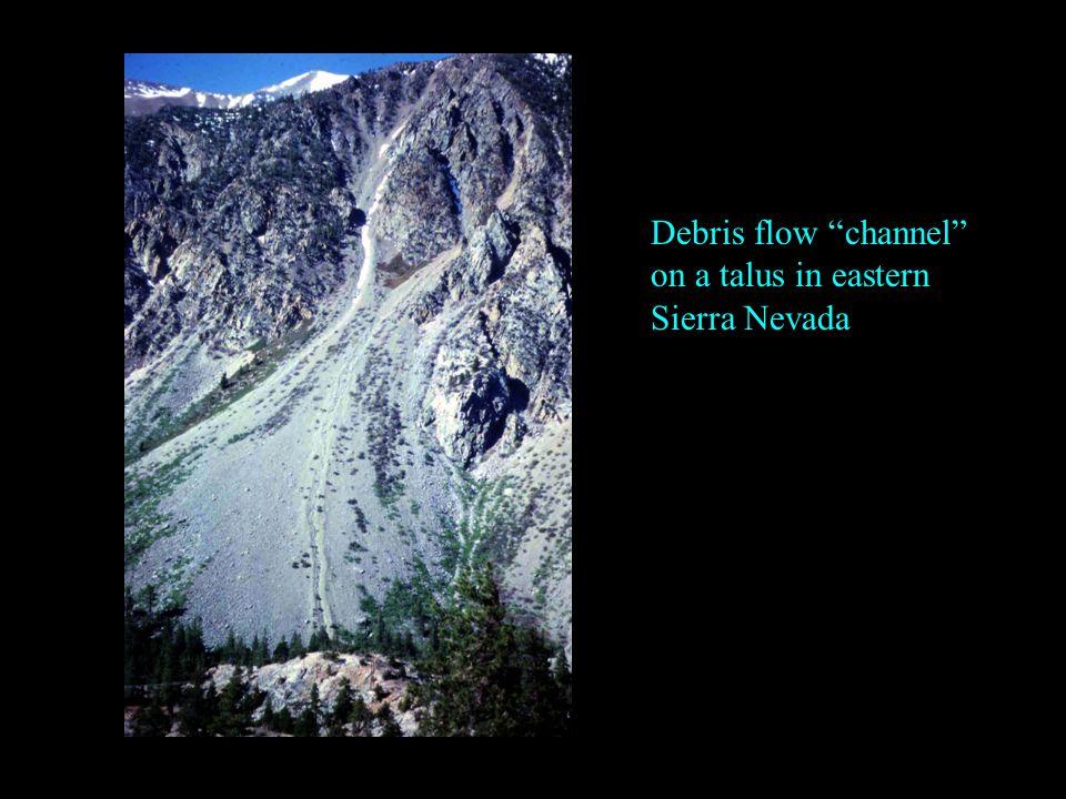 """Debris flow """"channel"""" on a talus in eastern Sierra Nevada"""