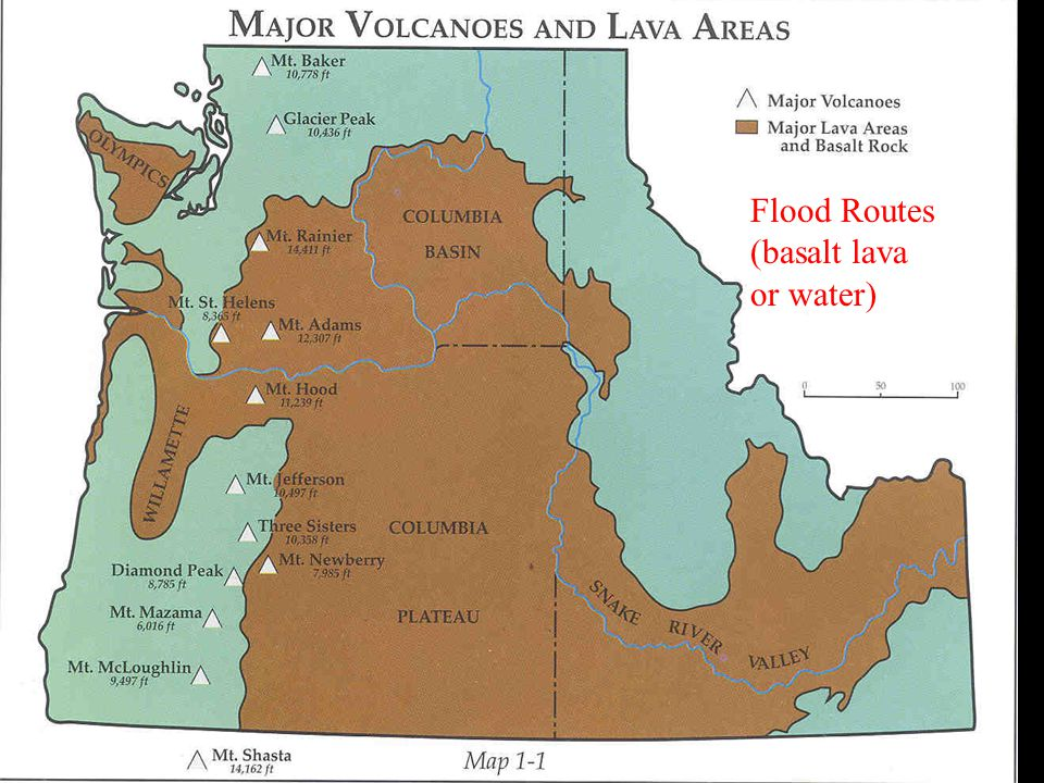 Flood Routes (basalt lava or water)