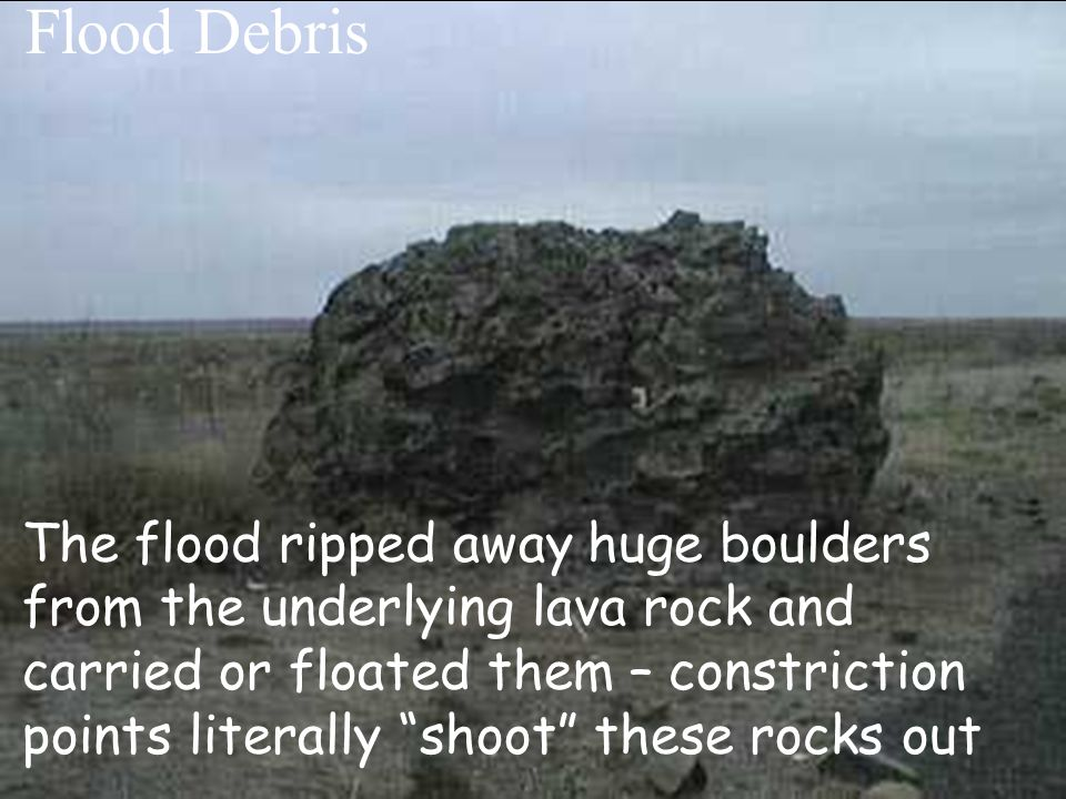 Photo compliments of the National Park Service The flood ripped away huge boulders from the underlying lava rock and carried or floated them – constri