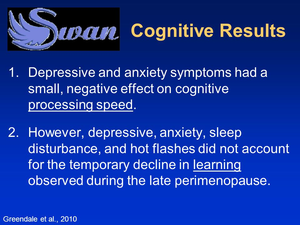 1.Depressive and anxiety symptoms had a small, negative effect on cognitive processing speed.