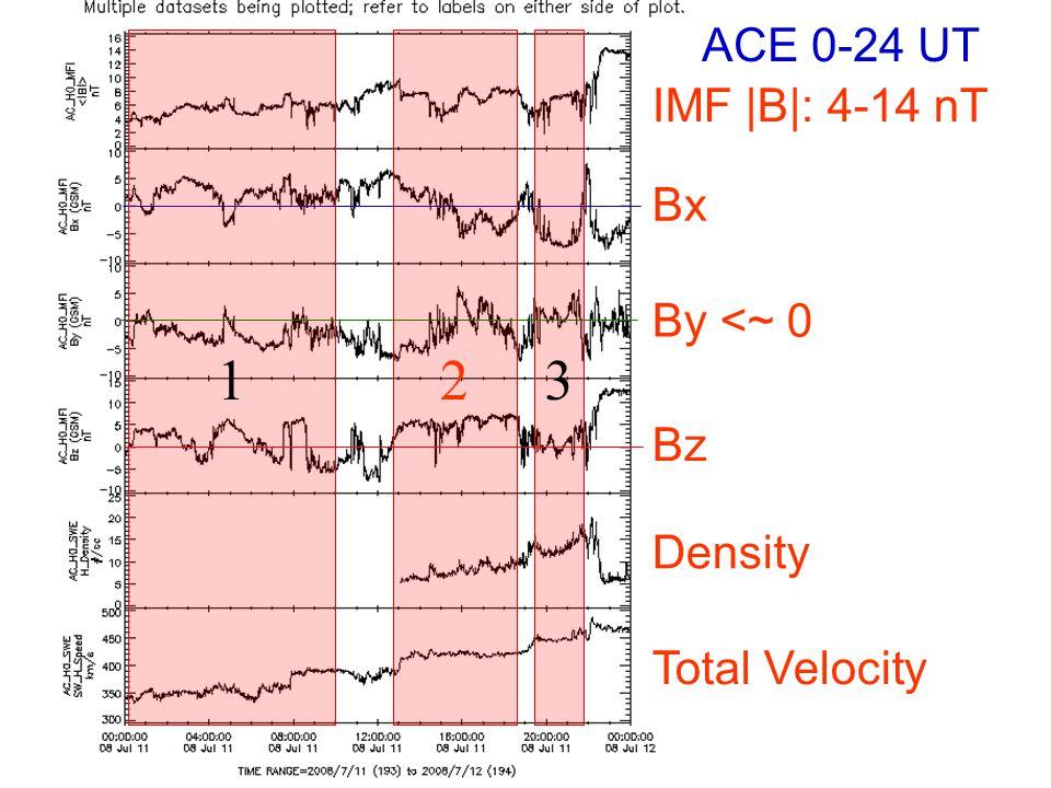 IMF |B|: 4-14 nT By <~ 0 Bz Bx Density Total Velocity 123 ACE 0-24 UT