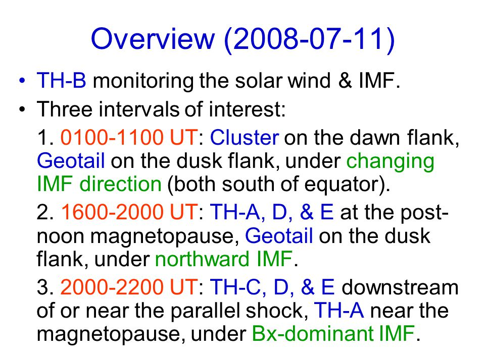 Overview (2008-07-11) TH-B monitoring the solar wind & IMF.