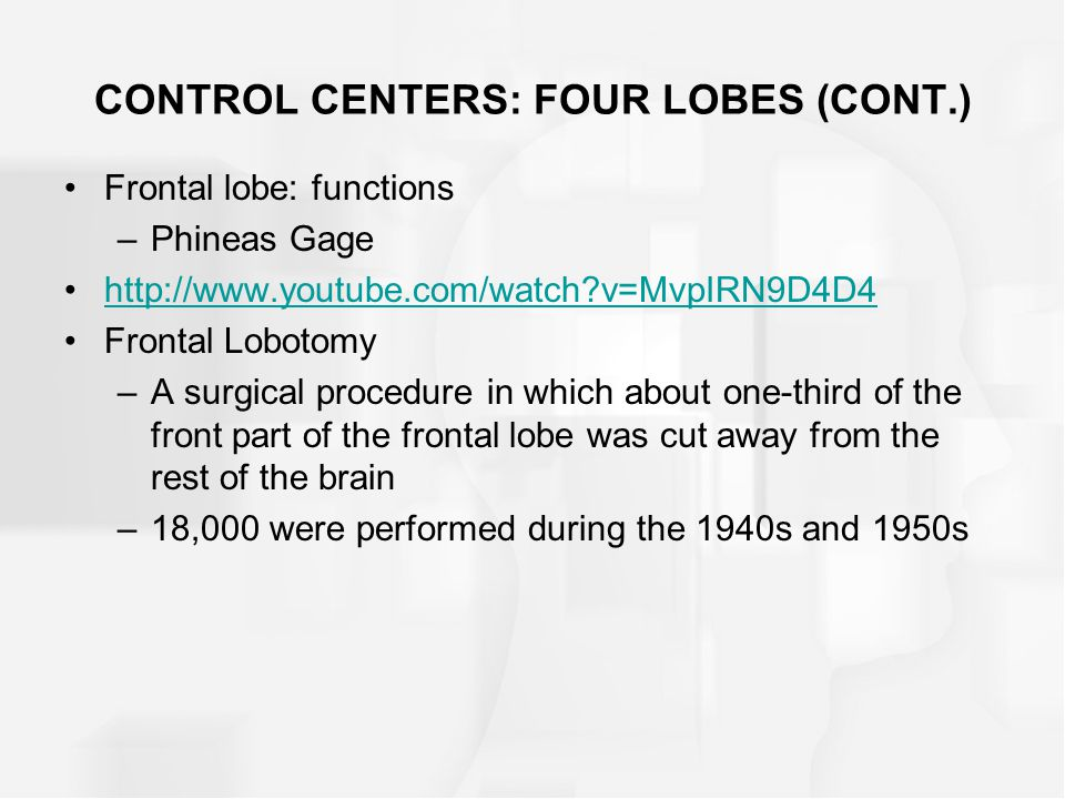 CONTROL CENTERS: FOUR LOBES (CONT.) Frontal lobe: functions –Phineas Gage http://www.youtube.com/watch?v=MvpIRN9D4D4 Frontal Lobotomy –A surgical proc
