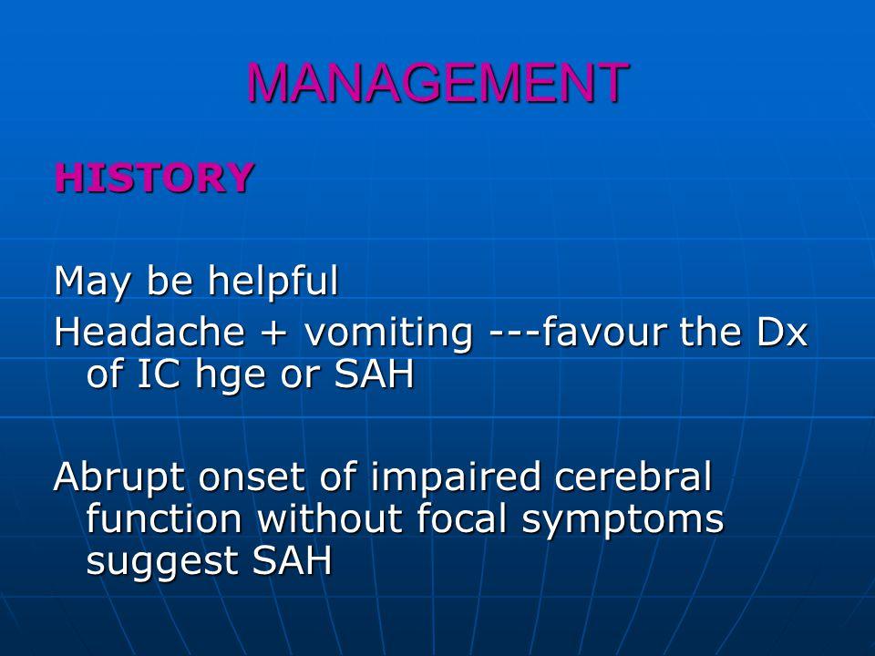 COMPLICATION OF SAH DUE TO ANEURYSM Rebleeding within 10 days Rebleeding within 10 days Vasospasm Vasospasm Systemic complications Systemic complications --hyponatremia --hyponatremia --MI --MI --CNS disturbance --CNS disturbance