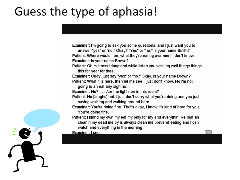 Guess the type of aphasia!