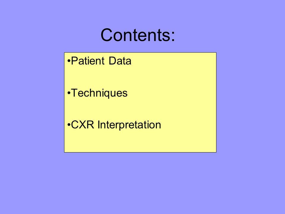 Contents: Patient Data Techniques CXR Interpretation