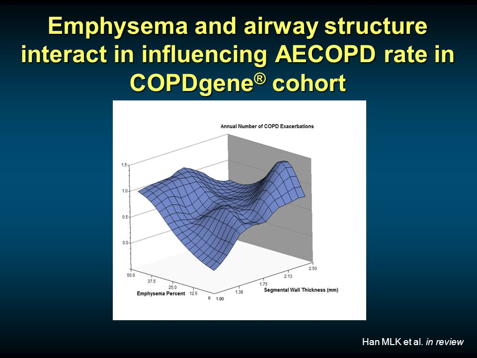 Emphysema and airway structure interact in influencing AECOPD rate in COPDgene ® cohort Han MLK et al.
