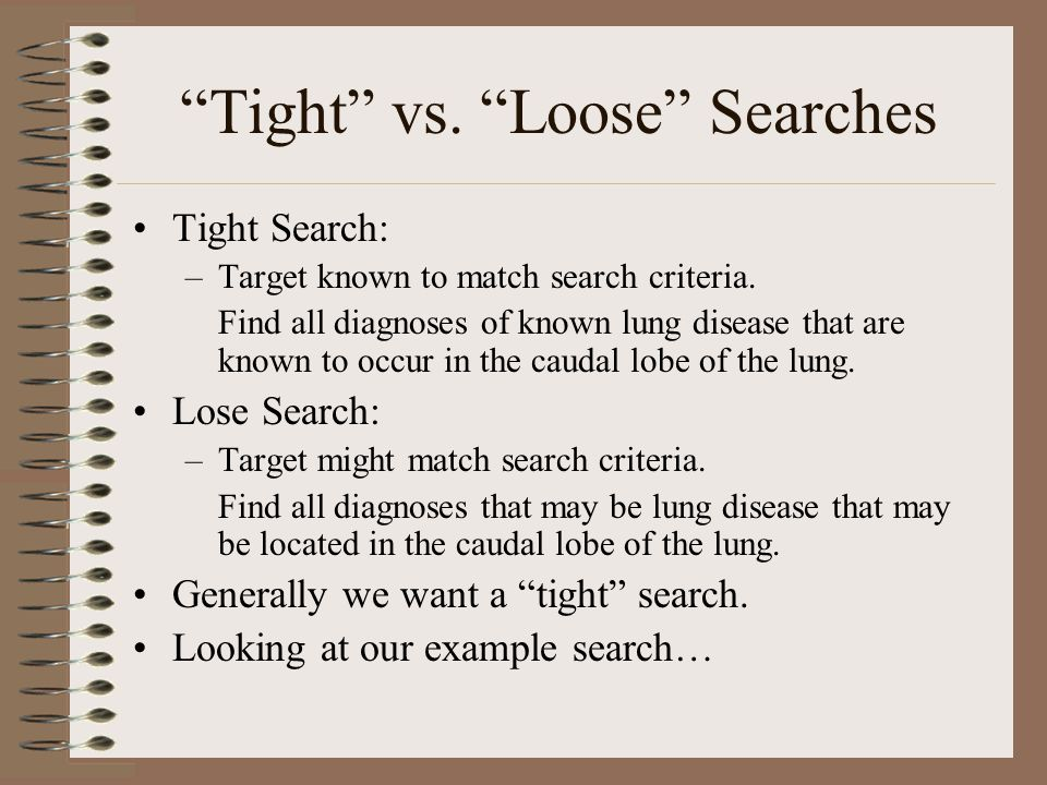 Tight vs. Loose Searches Tight Search: –Target known to match search criteria.