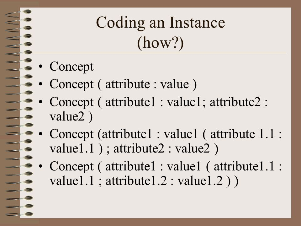 Coding an Instance (how ) Concept Concept ( attribute : value ) Concept ( attribute1 : value1; attribute2 : value2 ) Concept (attribute1 : value1 ( attribute 1.1 : value1.1 ) ; attribute2 : value2 ) Concept ( attribute1 : value1 ( attribute1.1 : value1.1 ; attribute1.2 : value1.2 ) )