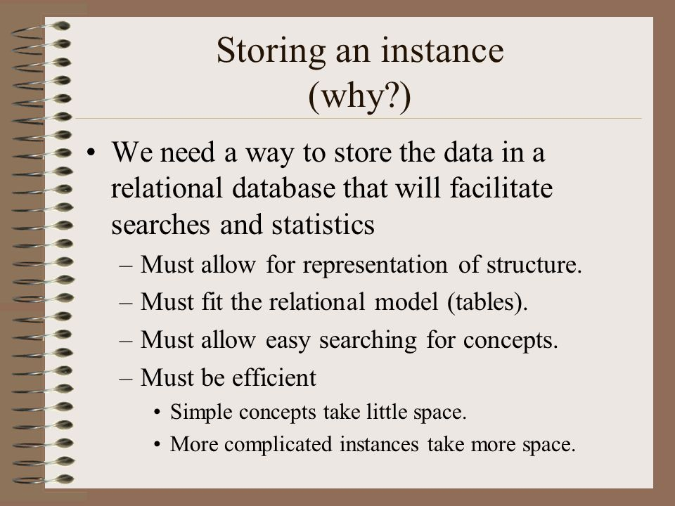 Storing an instance (why ) We need a way to store the data in a relational database that will facilitate searches and statistics –Must allow for representation of structure.