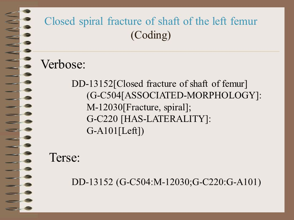 DD-13152[Closed fracture of shaft of femur] (G-C504[ASSOCIATED-MORPHOLOGY]: M-12030[Fracture, spiral]; G-C220 [HAS-LATERALITY]: G-A101[Left]) DD-13152 (G-C504:M-12030;G-C220:G-A101) Verbose: Terse: Closed spiral fracture of shaft of the left femur (Coding)