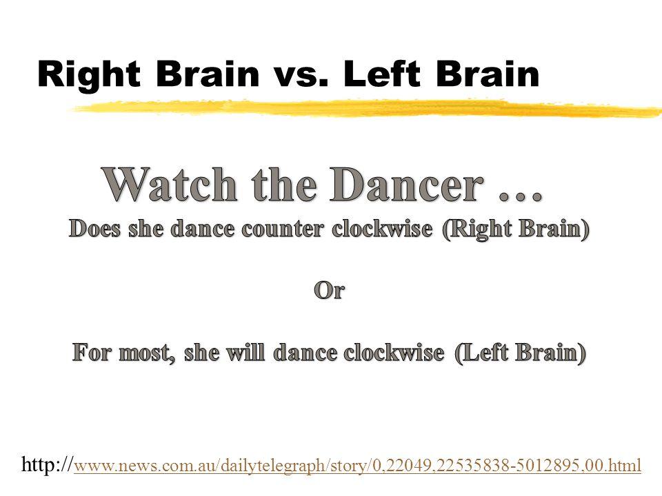 Right Brain vs. Left Brain http:// www.news.com.au/dailytelegraph/story/0,22049,22535838-5012895,00.html www.news.com.au/dailytelegraph/story/0,22049,