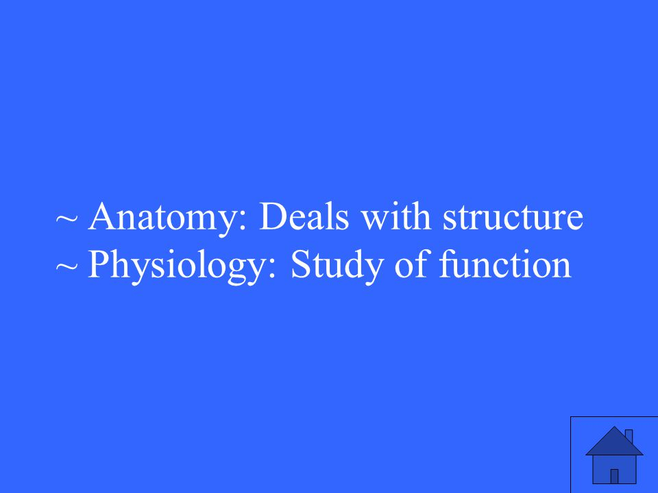 ~ Anatomy: Deals with structure ~ Physiology: Study of function