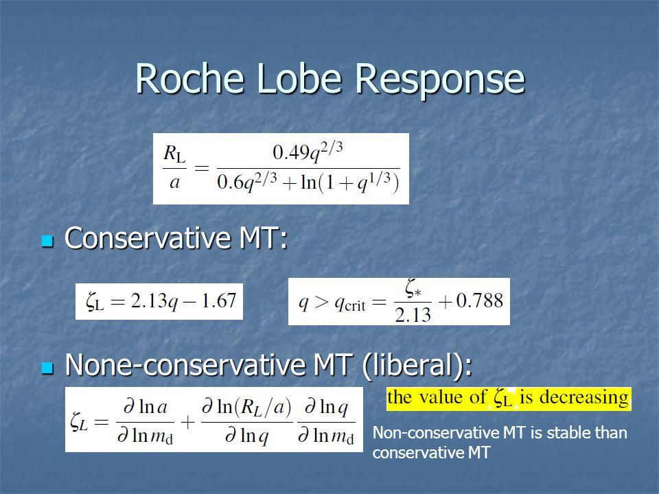 Roche Lobe Response Conservative MT: Conservative MT: None-conservative MT (liberal): None-conservative MT (liberal): Non-conservative MT is stable than conservative MT