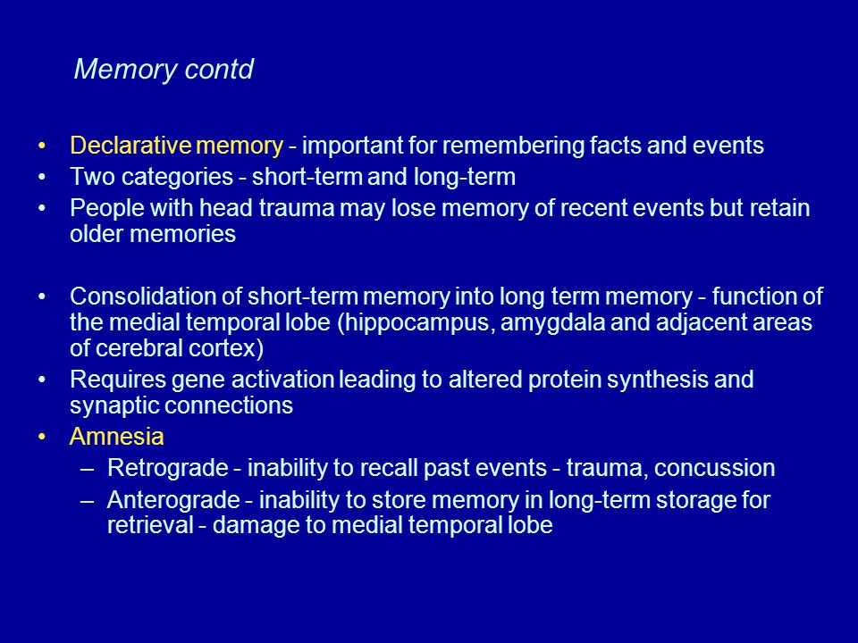 Memory contd Declarative memory - important for remembering facts and events Two categories - short-term and long-term People with head trauma may los
