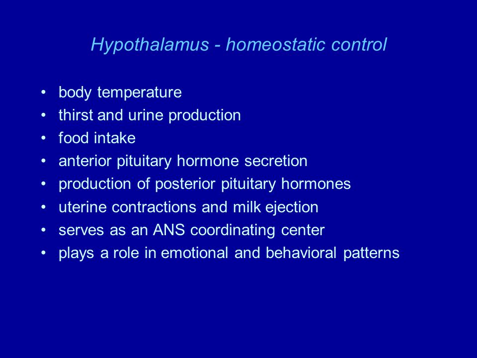 Hypothalamus - homeostatic control body temperature thirst and urine production food intake anterior pituitary hormone secretion production of posteri