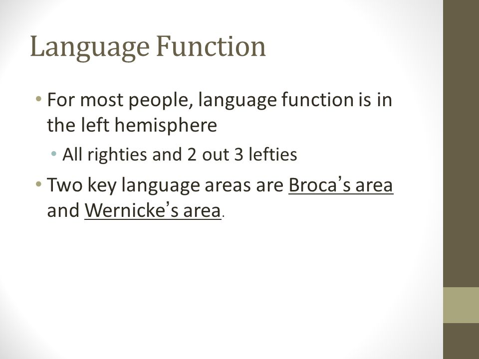 Language Function For most people, language function is in the left hemisphere All righties and 2 out 3 lefties Two key language areas are Broca ' s area and Wernicke ' s area.