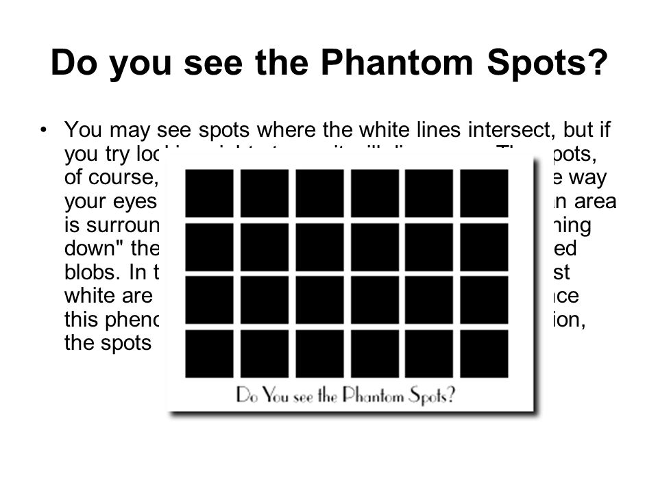 Do you see the Phantom Spots.
