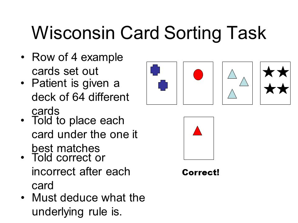Wisconsin Card Sorting Task Patient is given a deck of 64 different cards Told to place each card under the one it best matches Told correct or incorrect after each card Row of 4 example cards set out Must deduce what the underlying rule is.