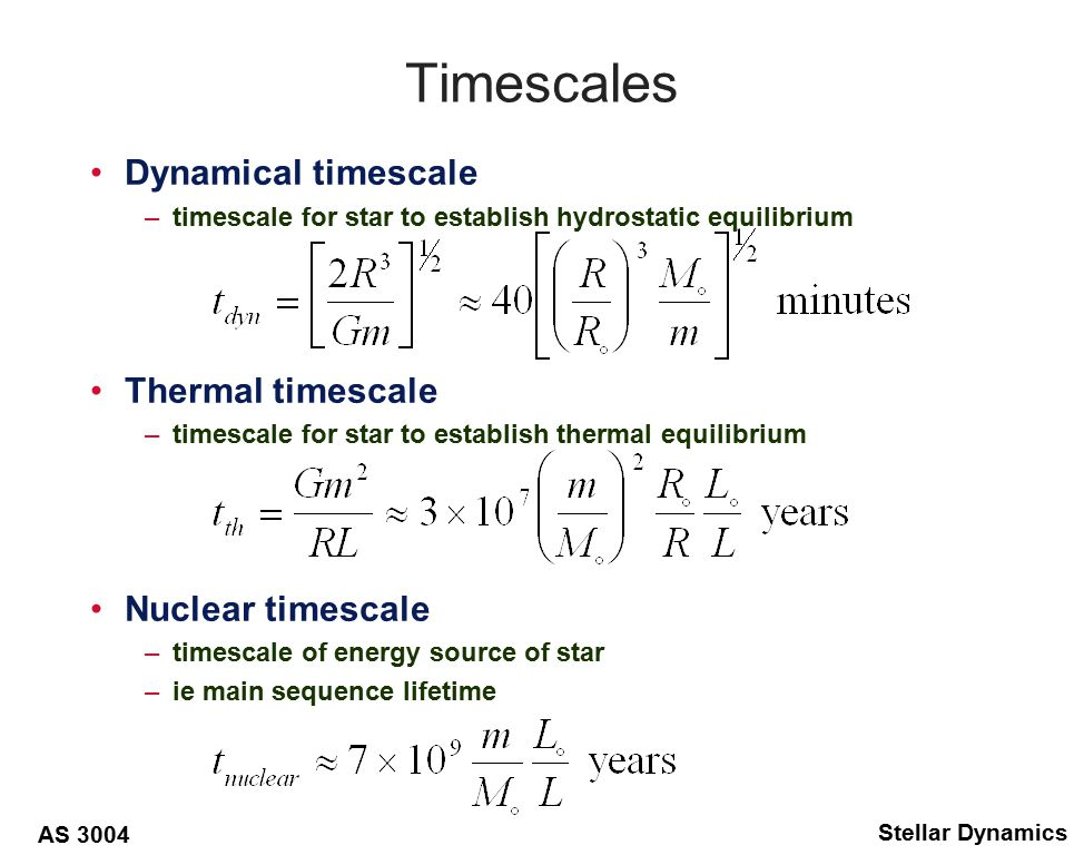 AS 3004 Stellar Dynamics Star reacts to mass loss, –expands/contracts –Roche-lobe also expands or contracts Define –then the star will transfer mass on a dynamical timescale –star reacts more to change in Roche-lobe –then hydrostatic equilirbium easily maintained –star transfers mass on thermal timescale –stable on thermal timescale –mass transfer due to stellar evolution, nuclear timescale