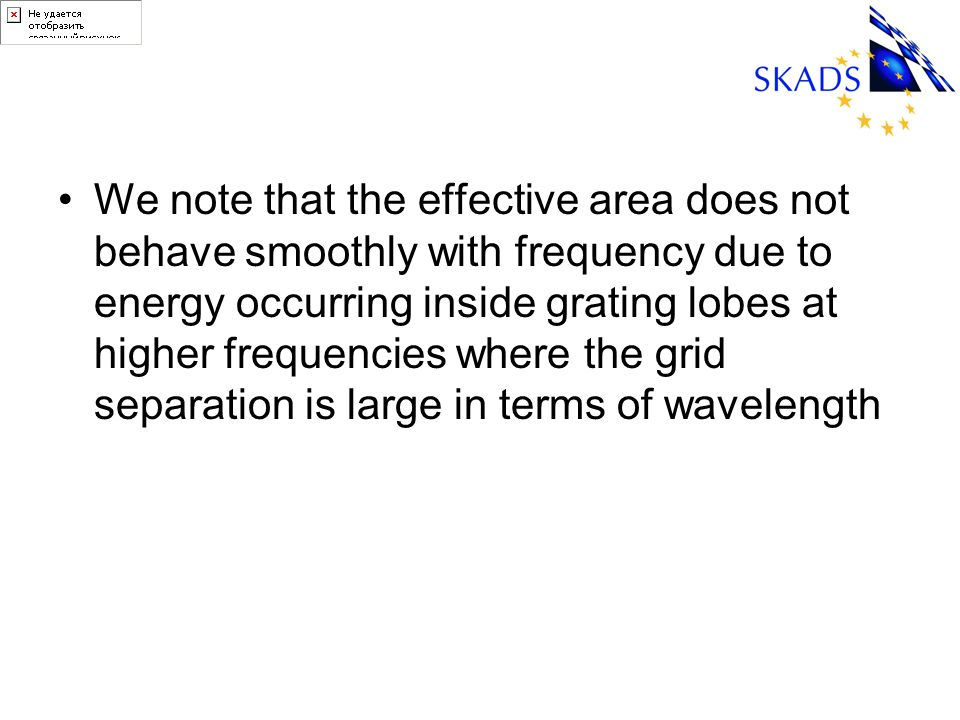 We note that the effective area does not behave smoothly with frequency due to energy occurring inside grating lobes at higher frequencies where the grid separation is large in terms of wavelength