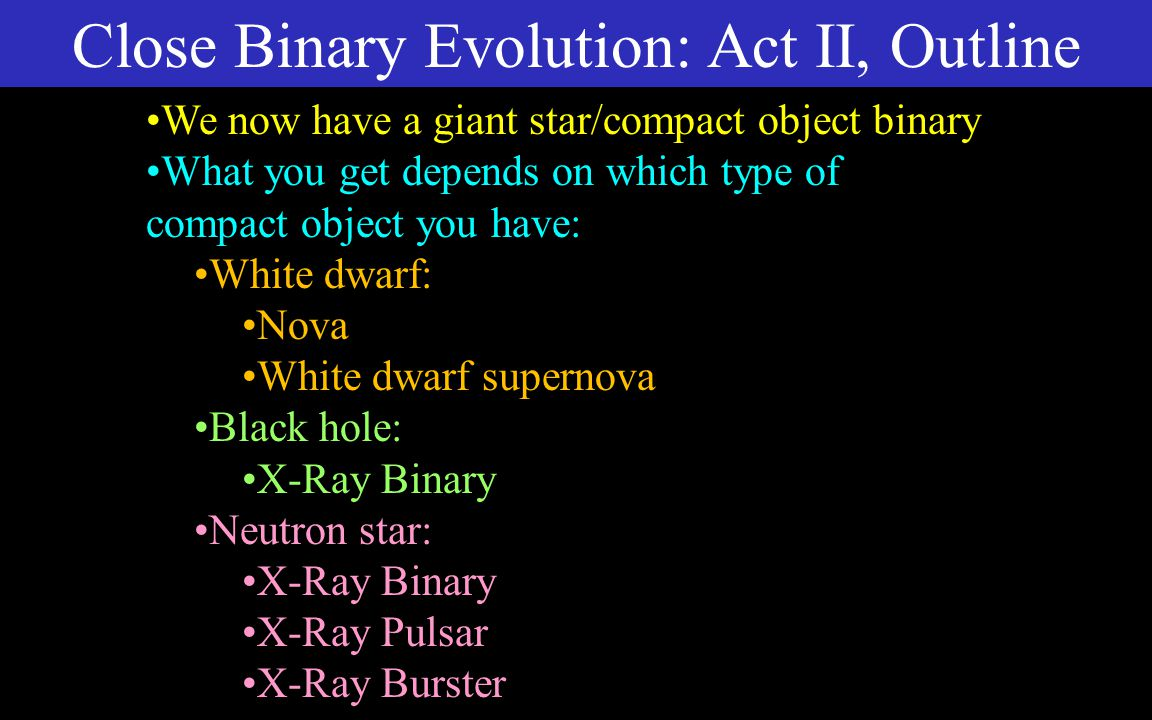 Close Binary Evolution: Act II, Intro Compact object: any of the three types of stellar corpses White dwarf Neutron star Black hole When second star becomes a giant, evolution gets interesting A is heavier than B is heavier than C.