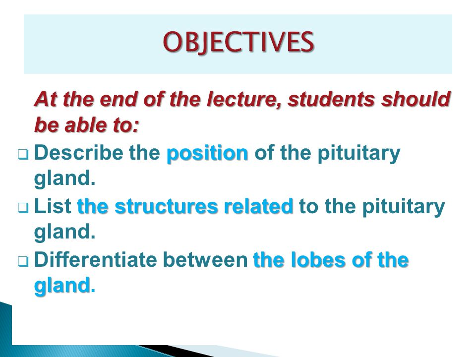 At the end of the lecture, students should be able to: position  Describe the position of the pituitary gland. the structures related  List the stru