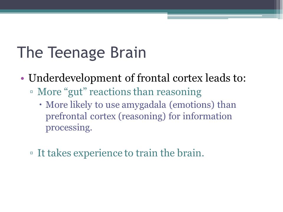 """The Teenage Brain Underdevelopment of frontal cortex leads to: ▫More """"gut"""" reactions than reasoning  More likely to use amygadala (emotions) than pre"""