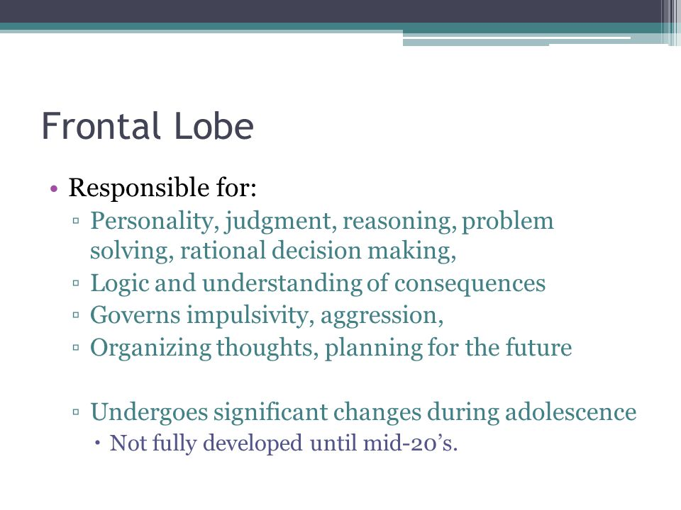 Frontal Lobe Responsible for: ▫Personality, judgment, reasoning, problem solving, rational decision making, ▫Logic and understanding of consequences ▫