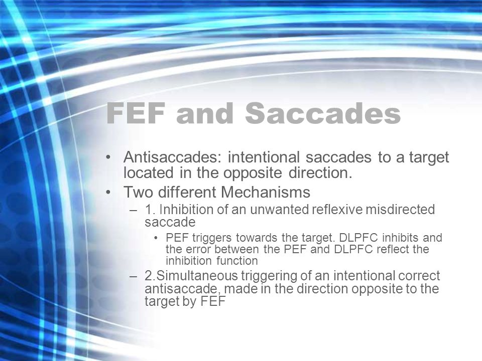 FEF and Saccades Antisaccades: intentional saccades to a target located in the opposite direction.